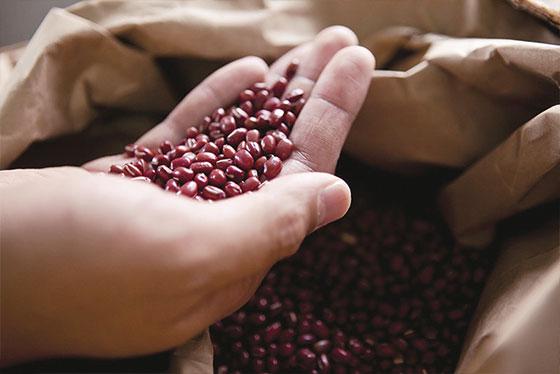 一つひとつ人の手で石豆を丁寧に取り除かれた、大きさが均一の大粒の小豆