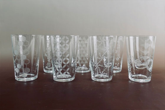 パソコンで作った和柄デザインを現像 グラスを作成